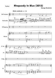 """""""Rhapsody In Blue"""" (George Gershwin), arrangiert für Klavier, Trompete, Cello und Schlagzeug"""